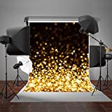 KateHome PHOTOSTUDIOS 2x3m Gelb Glitzer Hintergrund Yellow Dunklem Hintergrund Schwarz für Party Fotoshootings Hintergrund für Portrait Party Kinder Baby Studio Hintergrund Digital Foto