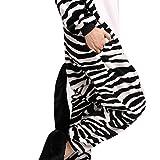 LATH.PIN Jumpsuit Tier Karton Fasching Halloween Kostüm Sleepsuit Cosplay Fleece-Overall Pyjama Schlafanzug Erwachsene Unisex Lounge Nachtwäsche S/M/L/XL (L, Zebra) -