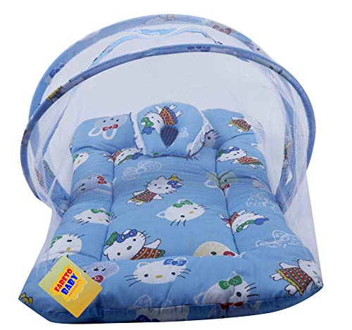 Fareto Baby Folding Teddy Print Mattress with Mosquito Net(0-6 Months) (Blue)(Size: L-34Inchs, B-22Inchs)