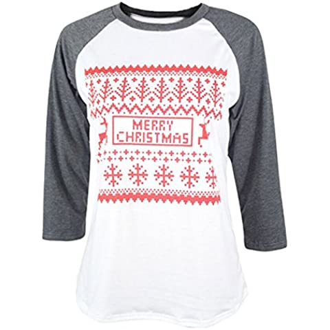 Xinantime Natale Donna Reindeer Snowflake Stampato Manica Lunga Splicing Maglietta