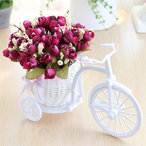 Doolland Bicicleta Artificial Flores Cestas Tejidas A Mano Rueda Grande Bicicleta Planta Soporte Mini Jardín para Decoración del Hogar, seda sintética, rojo vino, talla única