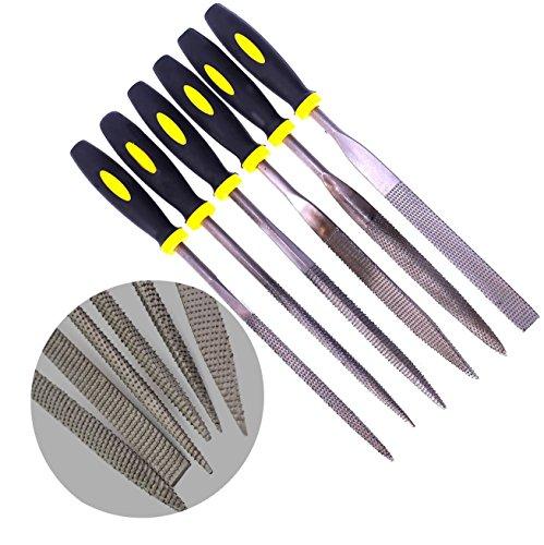 6 teilig 5x180mm Holzraspel NadelFeilen Raspelsatz Set mit Gummigriff 6 Formen Bastard-Dateien für Holz und weiche Stoffe Carving (öl-bereinigung)