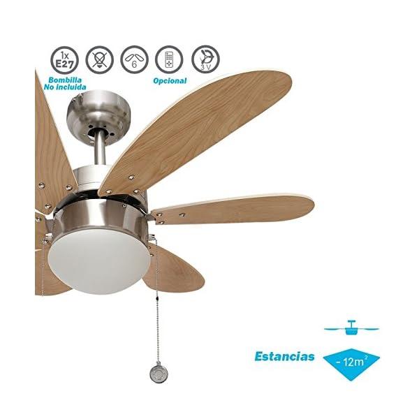 003 Oferta ventilador de techo 6 aspas níquelhaya, 1XE27