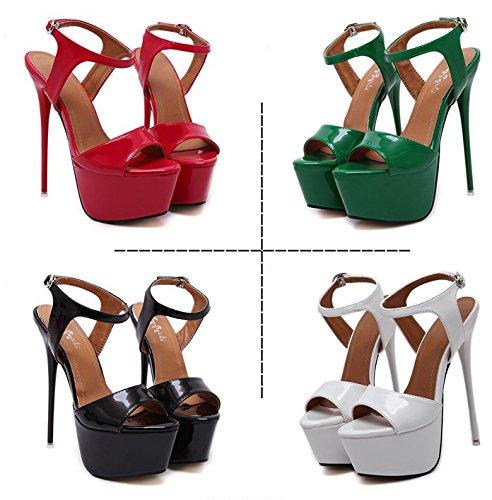 GS~LY Cadeau de fête des mères L'Europe et les États-Unis sandales à talons hauts Black