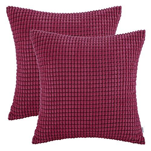 Ashler Kissenbezüge, weicher Cord, Maiskornmuster, beidseitig gestreift, 2 Stück 22 x 22 inch rot -