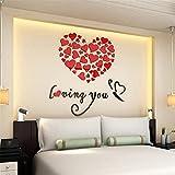 Pared de Etiqueta, RETUROM Etiquetas románticas de la pared del arte del pegatina del vinilo del corazón romántico del amor DIY para el par(rojo)