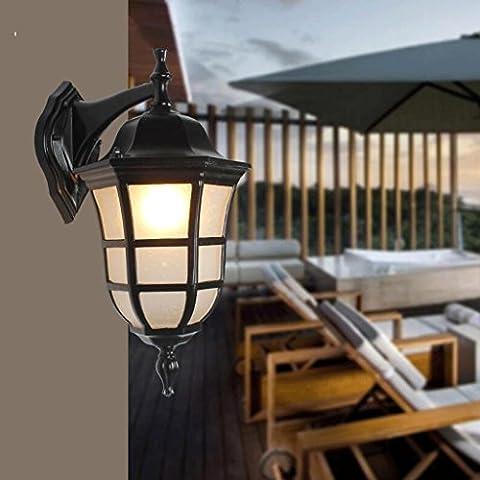 FHK,Wandleuchten American Retro loft wasserdichte Außenleuchten, schmiedeeisernes Tor minimalistischem industriellen Stil Shop Lampe den Schlafzimmerkopfwand Dekorative Wandleuchten