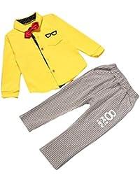 Koly 1 set niños chicos traje ropa, Koly largo manga camiseta pajarita pantalones de tapas + largo