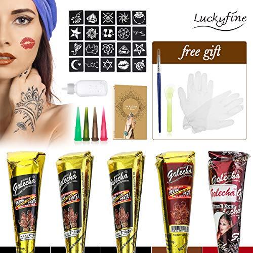 Luckyfine Tatuajes Temporales para Adultos y Niños 5 pcs (3 x Negro, 1 x Marrón, 1 x Rojo), Pinturas Corporales, Pincel y Rsapador para Tatuajes, 20 Plantillas de Tatuaje, Seguro y Impermeable