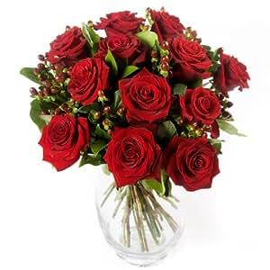 Clare Florist A Dozen Red Roses Fresh Romantic Flower Bouquet