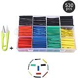 Schrumpfschlauch Set 530 STÜCKE mit Box Schläuche Wire Wrap-Sortiment Farbig Elektrischen Isolationsmaterialien & Elemente,Verhältnis 2: 1 + Freie Schere