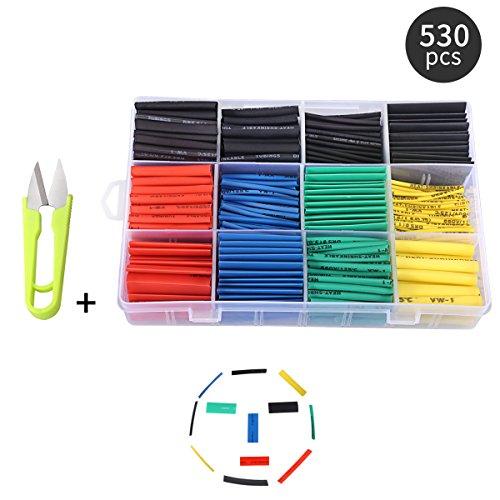 Preisvergleich Produktbild Schrumpfschlauch Set 530 STÜCKE mit Box Schläuche Wire Wrap-Sortiment Farbig Elektrischen Isolationsmaterialien & Elemente,Verhältnis 2: 1 + Freie Schere
