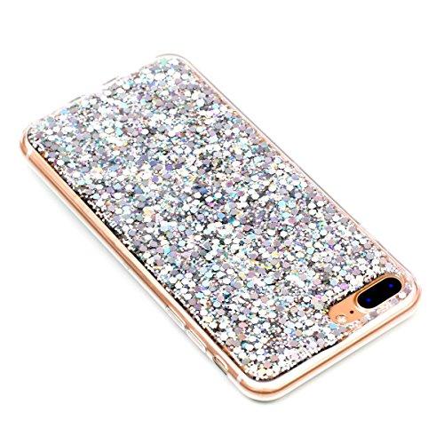"""MOONCASE iPhone 7 Plus/iPhone 8 Plus Hülle, Bling Glitter Weich TPU Handyhülle Ultra Slim Anti-Kratzer Stoßfest Schutz-tasche Case für iPhone 7 Plus/iPhone 8 Plus 5.5"""" Golden Silber"""