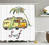 Nyngei Collezione di Tavole da Surf Disegnato a Mano Auto da Surf SummerTime Seaside Veicolo itinerante Palm Tree Vacanza Road Image in con Soft Orange