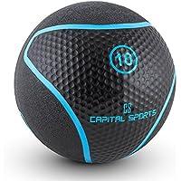 Capital Sports Medba 1 Palla Medica in Gomma Nera per core, functional training e crosstraining (10 KG, superficie ruvida e zigrinata, design moderno)