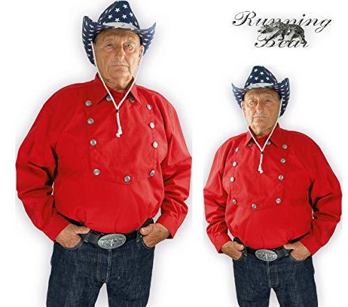 Running Bear Rotes Country Westernhemd John Wayne Größe XL - Cowboyhemd Wild West Line Dance Kleidung