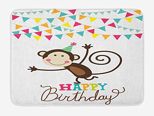 SJuczi Kids Birthday Bath Mat, Celebration Brown Monkey Posing at a Party with Two Line Flags Cone Image, Plush Bathroom Decor Mat with Non Slip Backing,Multicolor 19.7x31.5 in
