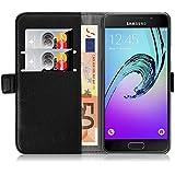 Samsung Galaxy A3 (6) 2016, JAMMYLIZARD Luxuriöse Ledertasche Flip Cover, SCHWARZ