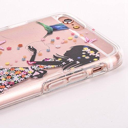 FESELE iPhone 6 Plus,iPhone 6S Plus Custodia,iPhone 6 Plus,iPhone 6S Plus Cover, iPhone 6 Plus,iPhone 6S Plus Cover Plastica con Morbido TPU telaio di Custodia Cristallo Trasparente di Lusso Scintilli Ragazza di vestito dal fiore