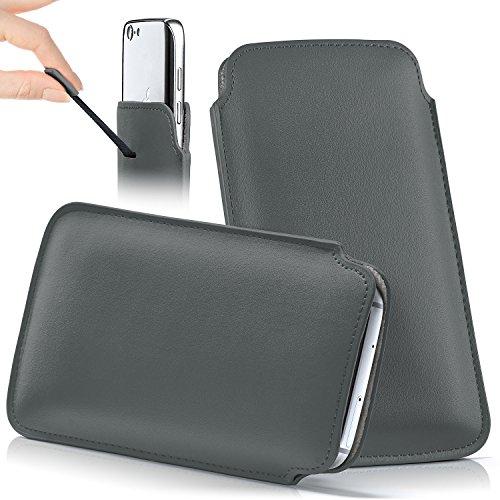 iPhone 5S Hülle Grau Sleeve [OneFlow Slide Cover] Ultra-Slim Schutzhülle Dünn Handyhülle für iPhone 5/5S/SE Case Full Body Handytasche Kunst-Leder Tasche