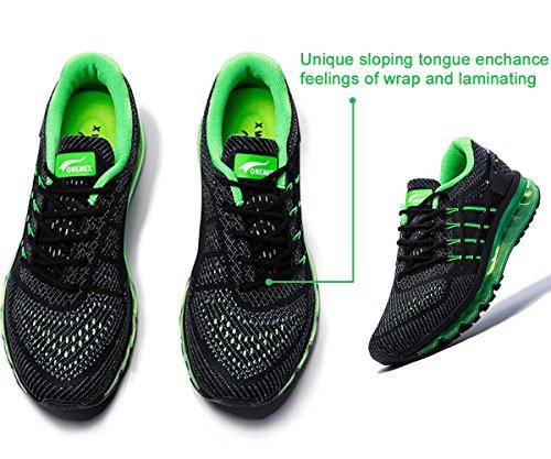 Onemix Air Laufschuhe Herren Straßenlaufschuhe Sneaker mit Luftpolster Sport Turnschuhe Sportschuhe Schwarz Grün
