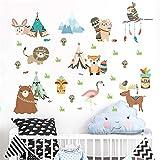 mignon indien tribu hibou lion ours renard stickers muraux pour chambres d'enfants chambre d'enfant décor à la maisonanimauxstickersmuraux pvc art mural