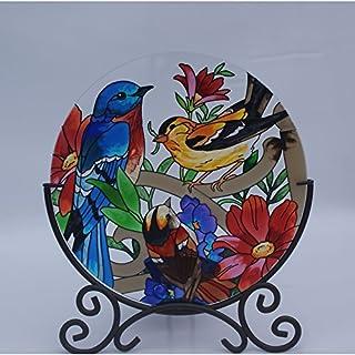 Acever Hand Paint Art Glass Desktop Decor Candle Holder Table Topper Candleware Home Decor Office Decor Calendar Stand Three Birds