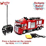 Wembley Toys Rechargeable Remote Controlled RC Fire Rescue Truck with Remote Water Spray Mode,Rechargeable Battery and USB Charger
