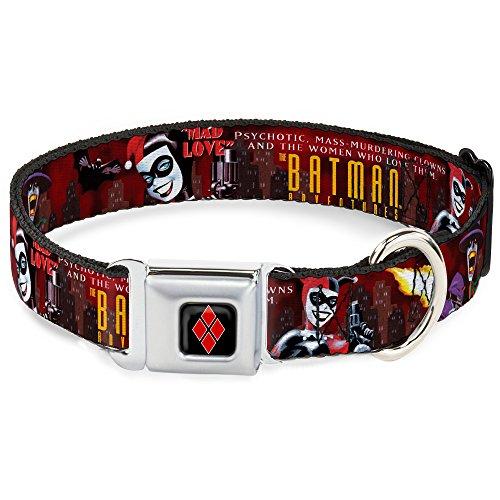 6-l 38,1-66cm jkg-Harley Quinn Diamant Full Color Schwarz/Rot Dog Halsband, groß ()