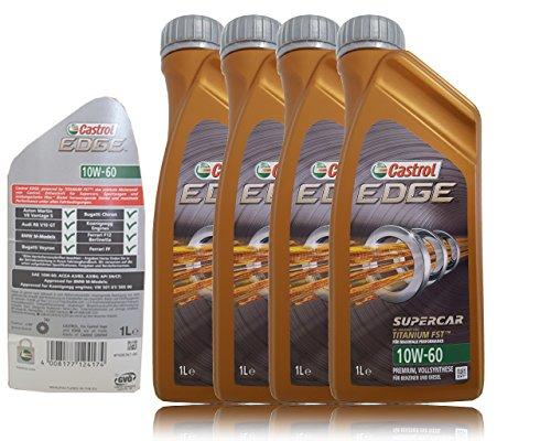 Castrol Edge Professional 10W 60Supercar Fst Olio lubrificante Motore Auto confenzione da 4Litri (Formula migliorata con Titanium Fst TM)