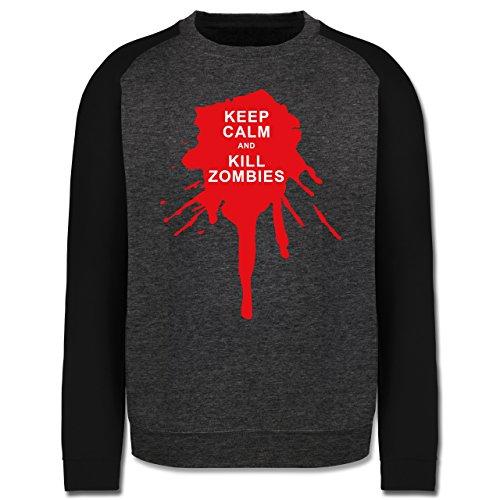 Keep calm - Keep calm and kill Zombies - Herren Baseball Pullover Dunkelgrau Meliert/Schwarz