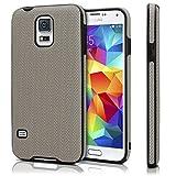 moex Chevron Case für Samsung Galaxy S5 | OneFlow Schutzhülle aus Silikon und TPU | Zubehör Cover zum Handy Schutz | Handyhülle Bumper Tasche Textil Optik in Grau