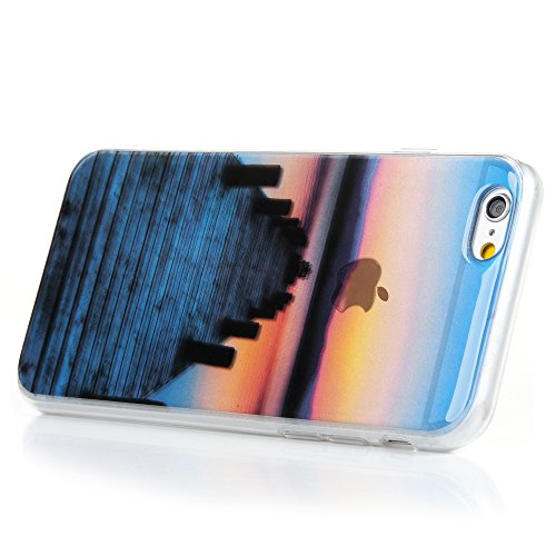 iphone 6 6S Case, Badalink Ultra-Slim iphone 6 6S Case Bunte Silikon Soft TPU + IMD Premium Durchsichtig Handyhülle Schutzhülle iPhone 6 (4.7 Zoll), Abenddämmerung Hafen Abends im Westen