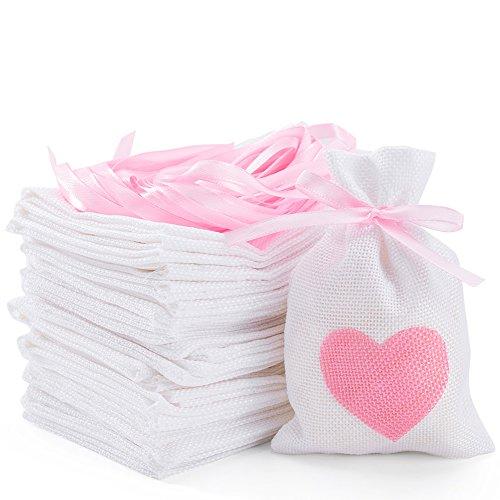 (DIKETE 30Tlg. Jutesäckchen Jute Sack Beutel Leinen Schmuck Säckchen weiß mit Zugband Tasche Geschenksäckchen für Hochzeitsfeier und DIY Handwerk,14x10cm)