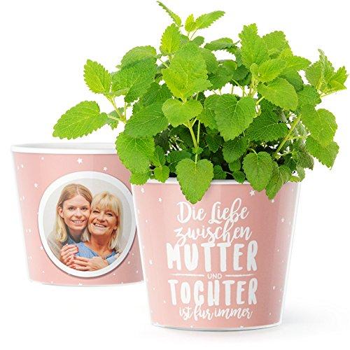 """Blumentopf (ø16cm)   Mutter Tochter Geschenk mit Rahmen für zwei Fotos (10x15cm) """"Die Liebe zwischen Mutter und Tochter ist für immer"""""""