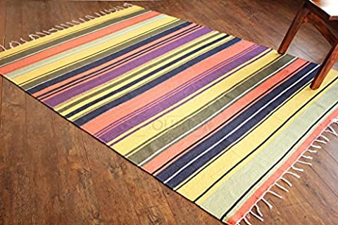 50% OFF, Prime Day Sale !!! 5'x7' Large Handmade Striped Cotton Rug. Multicoloured stripes, Flat Weave, Reversible Rug. Size 150cm x210cm, Code #