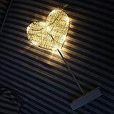 RENNICOCO Luz de Noche LED Estrellas Forma de Amor Sin batería Línea Trenzada Decoración Lámpara de Mesa pequeña