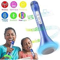 Bluetooth Microfono Wireless, Karaoke Bambino Altoparlante Microfono Karaoke Bluetooth Player Compatibile con IOS/Android, PC o tutti gli Smartphone (blu)