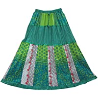 Mogul Interior Womens Long Skirt Green Printed Crinkle Bohemian Peasant Festive Skirts, Gift For Her