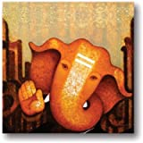 TYYC Diwali Gift Items, Euphoric Lord Ganesha Canvas Wall Paintings, Hangings For Home Decor, Religious Spiritual Hindu Gifts - 15x15 Inches