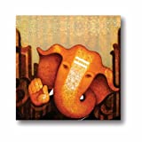 TYYC New Year Gift Items, Euphoric Lord Ganesha Canvas Wall Paintings, Hangings for Home Decor, Religious spiritual Hindu gifts - 15x15 inches