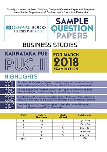 Oswaal Karnataka PUE Sample Question Papers For PUC II Business Studies  (March 2018 Exam)