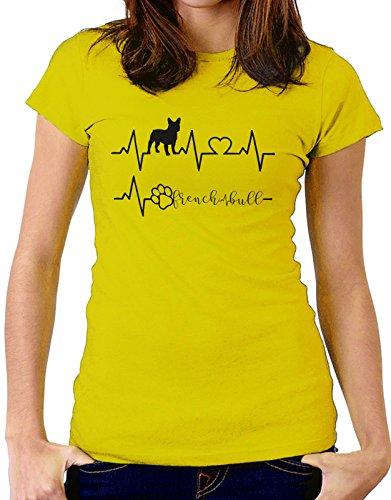 Tshirt Elettrocardiogramma French Bull - I love FrenchBull - cani - dog - love - humor - tshirt simpatiche e divertenti Giallo