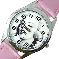 TAPORT® MARILYN MONROE Quartz ROUND Watch PINK Real Leather Band COLOUR Dial+FREE SPARE BATTERY+FREE GIFT BAG