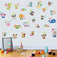 Plush. Colourful Animal Alphabet Wall Stickers for Kids Bedroom or Nursery