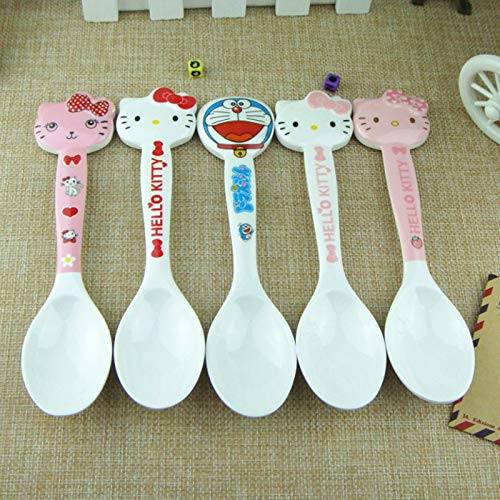 Kitchen Spong - 1pcs Lot Cute Dinnerware Kitty Cat Kids Spoons Melamine Tea Coffee Spoon Tableware E - Portion Mold Spoon Rice Free Stick Scoop Control Measure Holder Standing - Portion Scoop