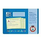 OXFORD 100050305 Schreiblernheft Schule 10er Pack A4 quer 16 Blatt Lineatur SL (1. Klasse) mit farbigem Mittelband gelocht - Schreiben lernen in der Grundschule und Förderschule