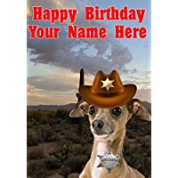 Italian Greyhound Dog j717 Cowboy Sheriff Fun Cute Happy Birthday A5 Personalised Greeting card POSTED BY US GIFTS FOR ALL 2016 FROM DERBYSHIRE UK