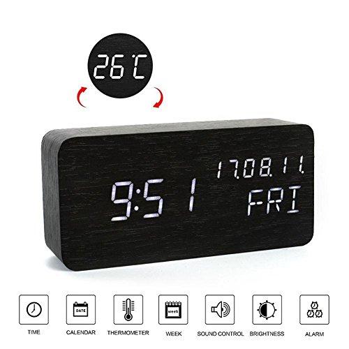 OOLIFENG Schreibtisch-Uhr Hölzerne LED Digital Wecker Sprachsteuerung mit Thermometer, Beste Geschenke für Freunde / Familien , black (Am Besten Am Radio)