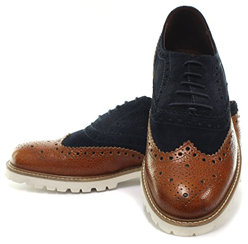 London Brogue richelieus Jamie Homme Oxford Mocassin, Beige Tan Leather/Navy Suede